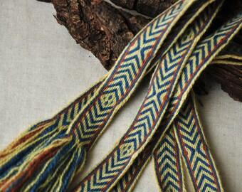 "Tablet woven trim / Medieval clothing / Plant dyed trim / Blue, Red, Yellow / Tablet woven belt / Long viking belt / Larp / 263cm, 103"""