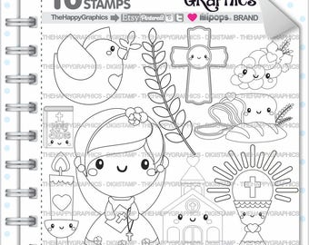 First Communion Girl Stamp 80OFF Commercial Use Digi