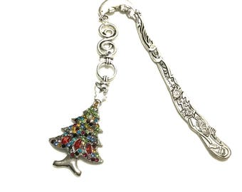 Coloured Rhinestone Christmas Tree Bookmark, Xmas Gift, Dolphin Antique Silver Bookmark,Bookworm Gift,Anytime gift