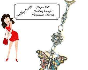 Butterfly Zipper Pull, Rhinestone Handbag Dangle, On Trend Gift, Bag Charm, Zipper Charm, Jacket Decor, Sweater Zip Decor,Anytime Gift