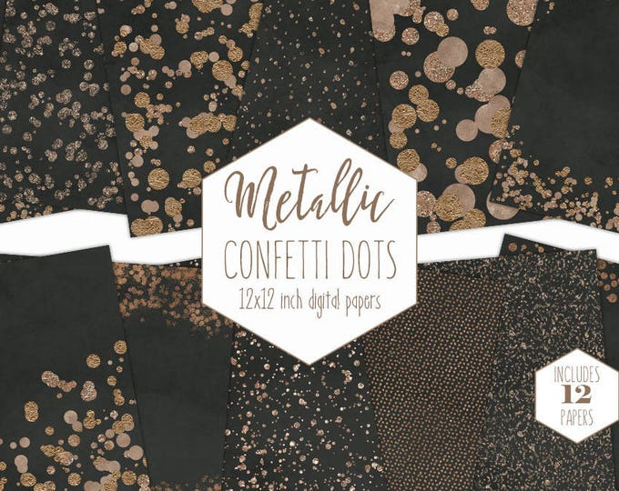 ROSE GOLD FOIL & Charcoal Gray Digital Paper Pack Confetti Dot Background Metallic Dark Black Scrapbook Paper Wedding Party New Year Clipart