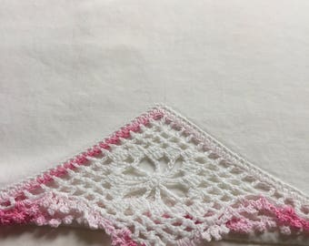Vintage pillowcase with embroidery-pink  and white crochet trim