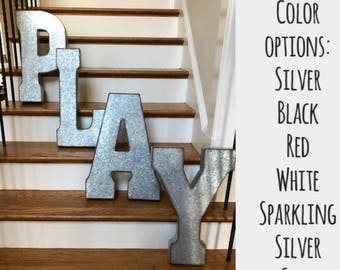 20 Inch Galvanized Metal Letters 20 Inch Letters  Etsy