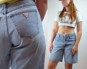 Vintage 80s Guess By Giorgio Marciano Denim Shorts - 80s Guess Button Fly Light Wash Shorts - Acid Wash Guess Shorts - Made In USA Sz 32