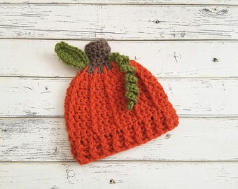 Pumpkin Beanie, Pumpkin Hat, Newborn Pumpkin Hat, Baby Pumpkin Hat, Pumpkin Photo Prop, Halloween Hat, Pumpkin Hats, Baby Boy, READY 2 SHIP