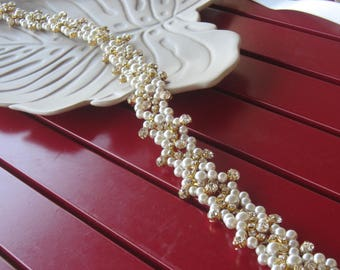 Wedding Gold Belt/ Ivory Pearl and Gold Crystal Rhinestone Bridal Sash, Wedding sash, Bridal Accessories, Bridal Belt and sashes