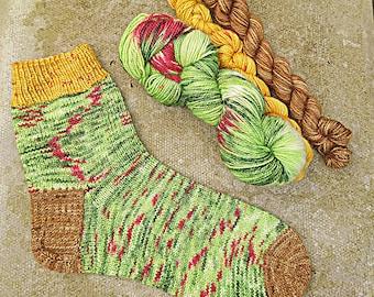 Christmas Tree sock set, hand dyed BFL high twist fingering yarn