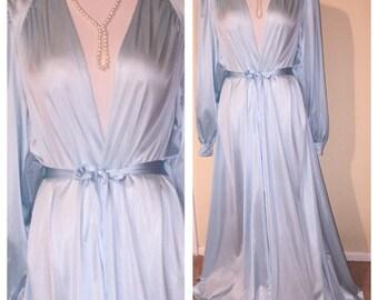 Vintage OLGA Long Wide Sweep Drape Back Glamour Dressing Gown Robe Sz XL