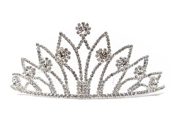 Dazzling Regal Clear Rhinestone Fan Crown Tiara