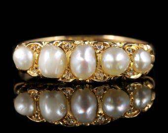 Antique Victorian Pearl Diamond Ring Circa 1870 18ct Gold