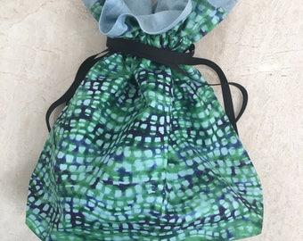 "12.75"" x 12.5"" Mint/Blue geometric medium drawstring bag"