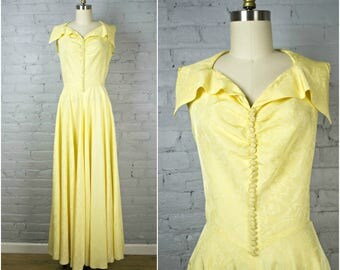 1940s dress . yellow taffeta vintage 40s evening long party gown . medium