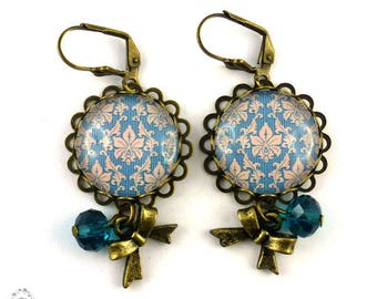 Earrings arabesques Royal Blue and beige stripes, retro vintage metal color bronze