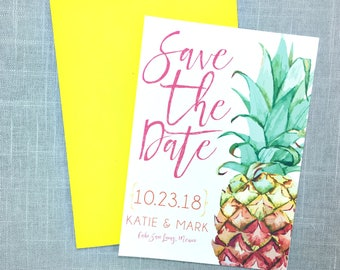 Tropical Save The Date - Pineapple - Destination Wedding Save The Date - Beach Wedding - Printed Save the Dates
