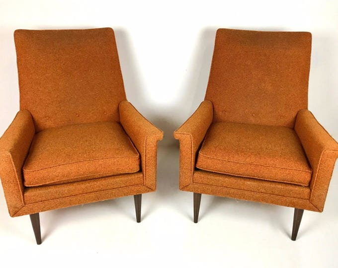 Pair of ORANGE Mid Century MODERN High Back Accent Club LOUNGE Chairs