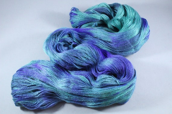 Hand Dyed Lace Merino/Silk Yarn - Crystal Sea