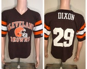 Vintage Cleveland Browns t-shirt // adult size medium // Hanford Dixon 1980s // logo 7 jersey shirt // made in USA // retro throwback