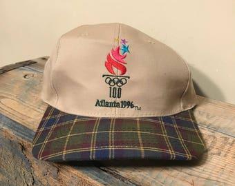 1996 Atlanta Olympics hat // Official Olympic hat // snapback hat // Olympic games // USA // American Flag // plaid bill tan cap // retro