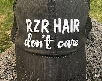 RZR Hair don't care Trucker Hat women baseball cap mesh back grey cute velcro swag custom personalized gift atv utv motorcross desert life