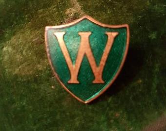 Vintage green enamel prefect initial W badge pin brooch school pin uniform blazer