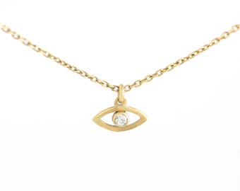 Evil Eye Necklace, Gold Eye Necklace, Diamond Evil Eye Necklace, Dainty Gold Necklace, Gold Diamond Necklace, Valentines Day, GN0325