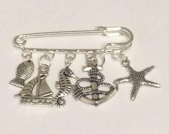 Nautical charm pin/ sailing themed kilt pin brooch/ seaside charm pin