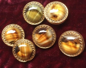 6 wonderful glass buttons - moonglows - beautiful collector / glass buttons - vintage buttons