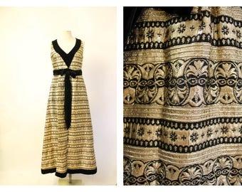 Jean Varon 70's Vintage gold Brocade & velvet maxi dress