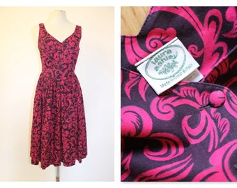 Laura Ashley Hot Pink Cotton Day Dress 80s-90s