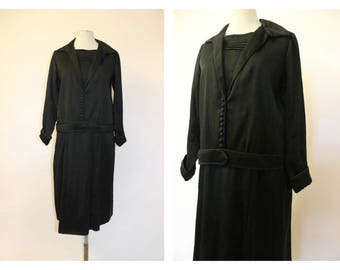 1920's Black Drop Waist Dress