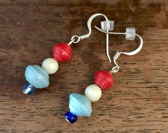 Red, White and Blue Paper Bead Earrings