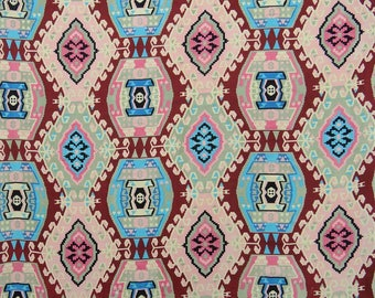 "Indian Fabric, Multicolor Printed, Dress Fabric, Ethnic Fabric, Sewing Decor, 45"" Inch Cotton Fabric By The Yard ZBC8518A"