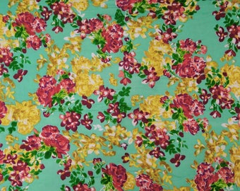"Sea Green Fabric, Floral Print, Apparel Fabric, Home Decoration, Craft Fabric, 45"" Inch Cotton Fabric By The Yard ZBC7240A"