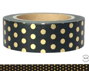 Washi Tape black DOTS gold