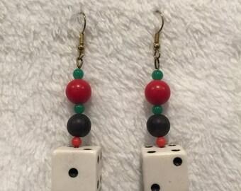 "25%OFF Acrylic, Glass Bead, & ""Bone"" Mis-struck Casino Dice Earrings - CA 1960's - #17007"