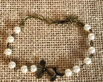 Swarovski pearl and antique bronze orchard flower bracelet