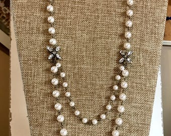 Antique inspired pearl double strand necklace