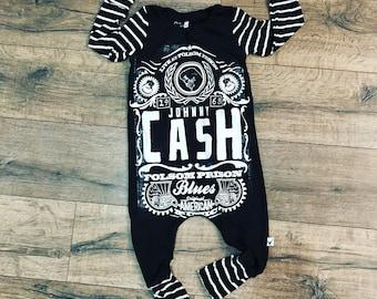 Johnny Cash, baby romper, handmade baby bodysuit, baby bodysuit, custom baby gift, trendy toddler clothes, rock music, t shirt romper, baby