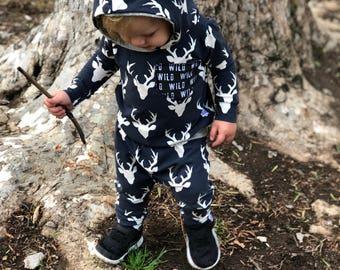 Hoodie Set, baby jumpsuit, childrens joggers, sweatshirt, modern baby, camouflage, wild one, deer, wilderness, baby boy,handmade baby outfit
