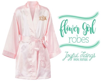 SALE Personalized Flower Girl Robes, Satin Kimono Robes, Flower Girl Gift, Bridal Party Robes, Embroidered Kid's Robes, Flower Girl Gown