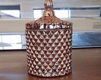 Mercury plated rose gold geometric candle 250g