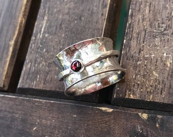 Ring, sterling ring, sterling band, meditation ring, spinner ring, fidget ring, garnet ring, band ring, wide ring