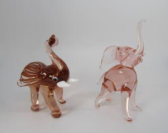 Miniature Hand Blown Pink Glass Elephants