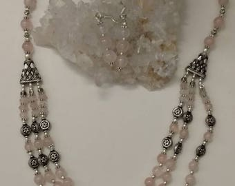 Three Strand Rose Quartz Necklace and Earring Set