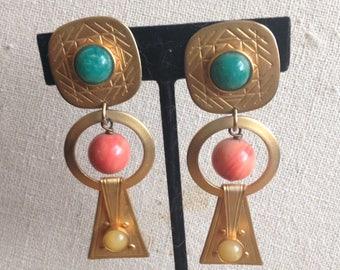 Artist Signed 1980s Modernist Earrings