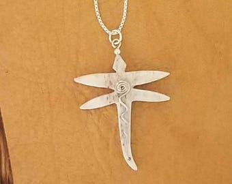 Elk Antler, Dragonfly, Pendant, Necklace, Sterling Silver, Antler Jewelry, Elk, Antler