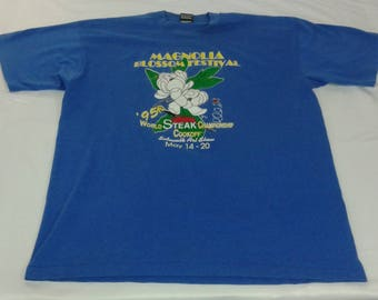 Vintage Best 50/50 1995 Magnolia Blossom Festival and World Steak Championship Cookoff Tshirt Size XL