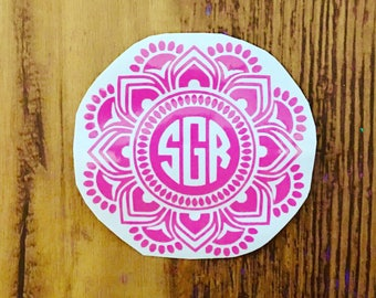 Mandala monogram decal, mandala monogram, monogram decal, mandala decal, laptop decal, yeti decal, car decal, tumbler decal, vinyl decal