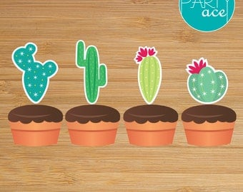 Cactus Cupcake Wrappers and Toppers Printable Mexican Birthday Party Decoration
