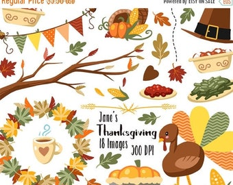 50% OFF Fall Thanksgiving Clipart - Fall Items Download - Instant Download - Thanksgiving and Fall Items